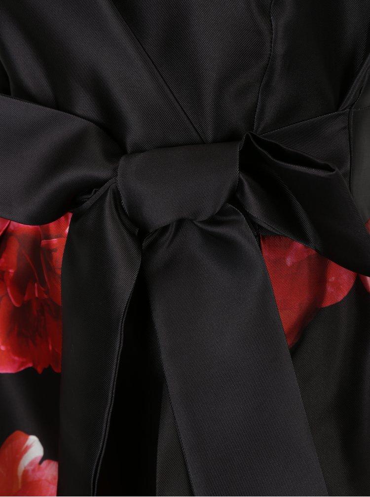 Černé květované midišaty s mašlí Dorothy Perkins
