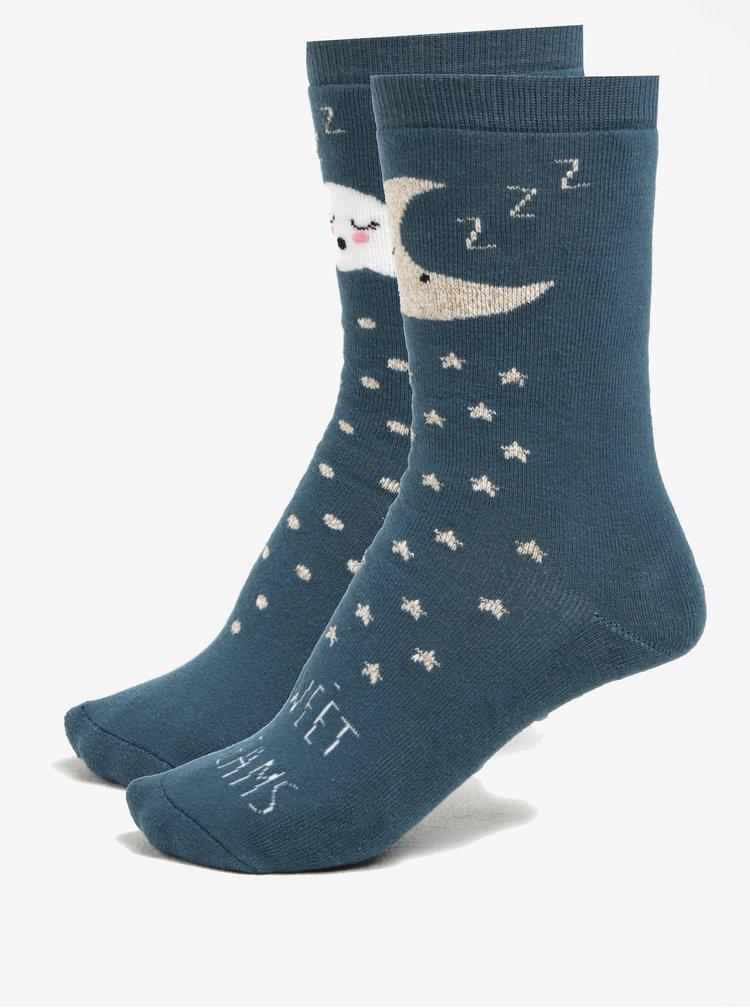 Sada dvou párů bílo-modrých protiskluzových ponožek Dorothy Perkins