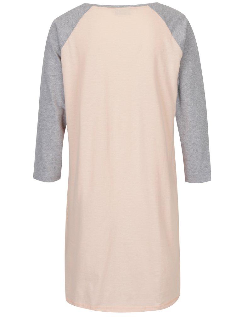 Šedo-růžová noční košile s potiskem Dorothy Perkins