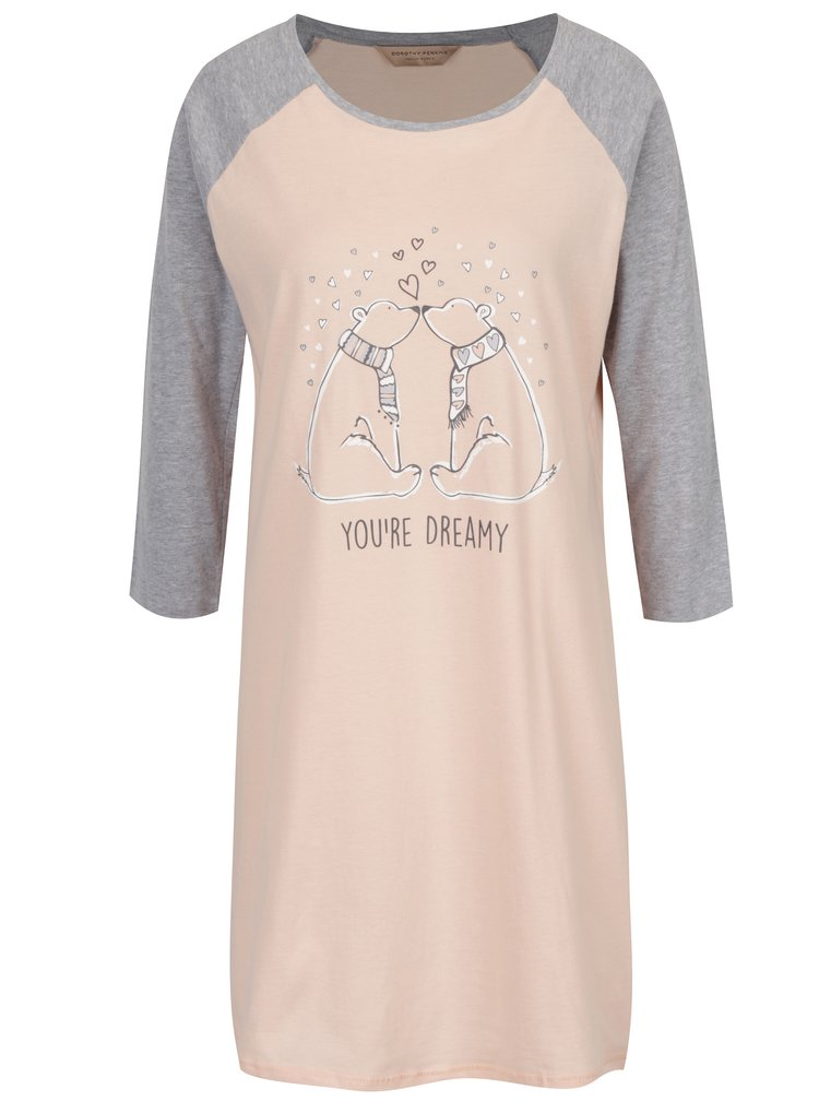 Camasa de noapte gri cu roz cu print Dorothy Perkins