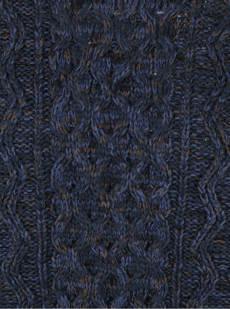 Tmavě modrý žíhaný svetr s příměsí vlny ONLY & SONS Heath