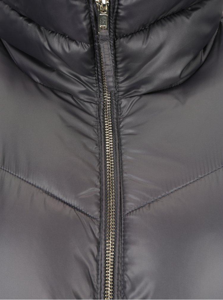 Šedý dámský lesklý prošívaný kabát Broadway Ondina