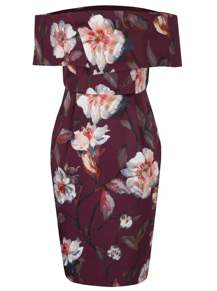 Vínové květované šaty s odhalenými rameny Dorothy Perkins Petite