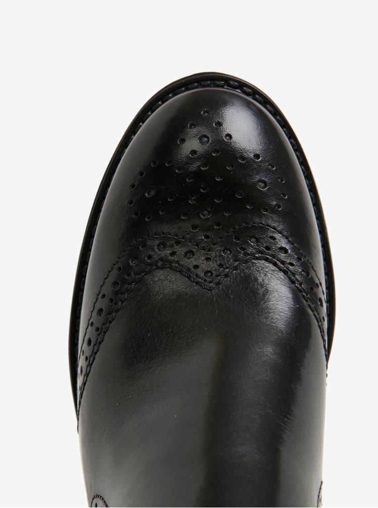 Černé kožené chelsea brogue boty Tamaris