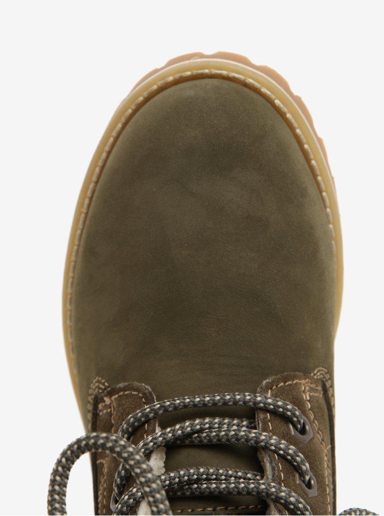 Zelené semišové voděodolné zimní boty Tamaris