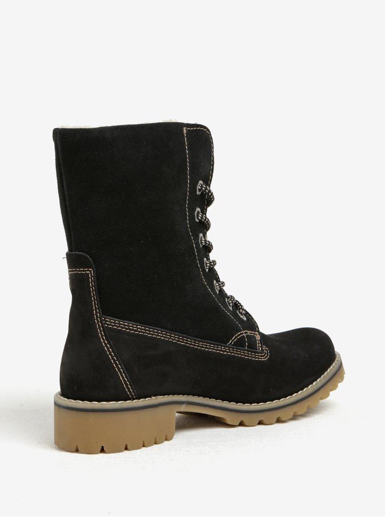 Černé semišové voděodolné zimní boty Tamaris