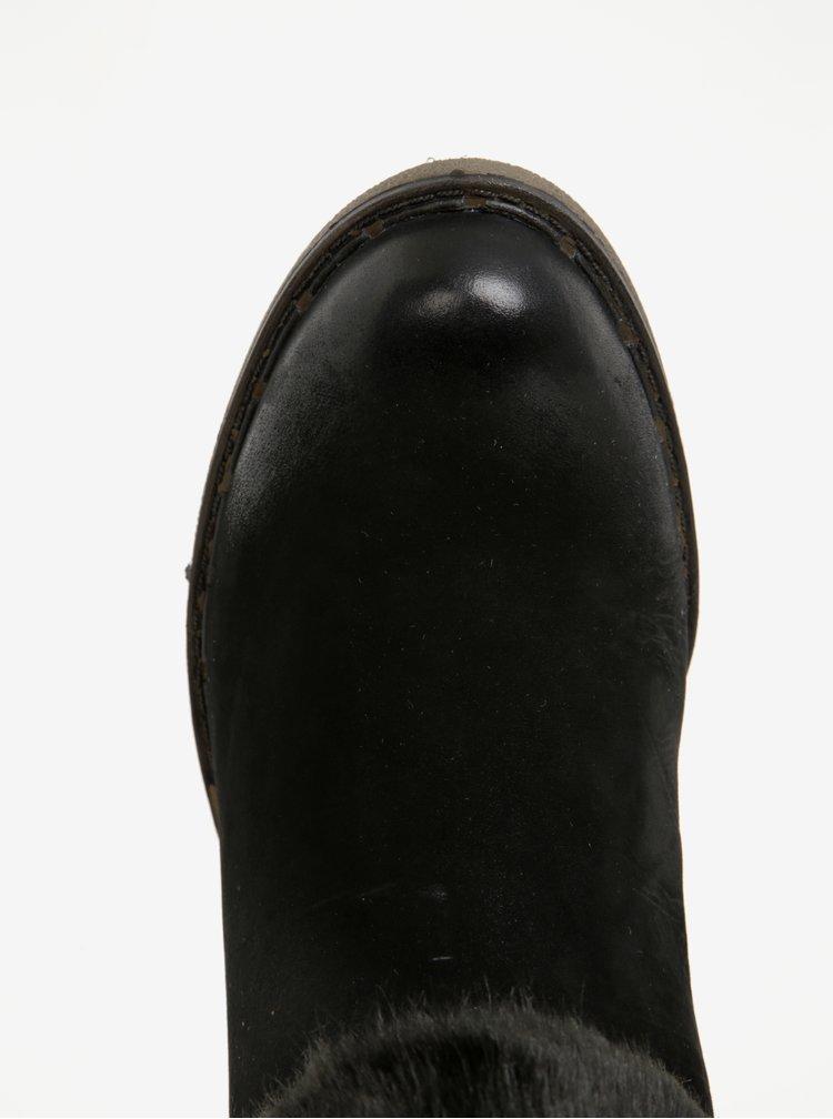 Cizme negre din piele cu blana artificiala Tamaris