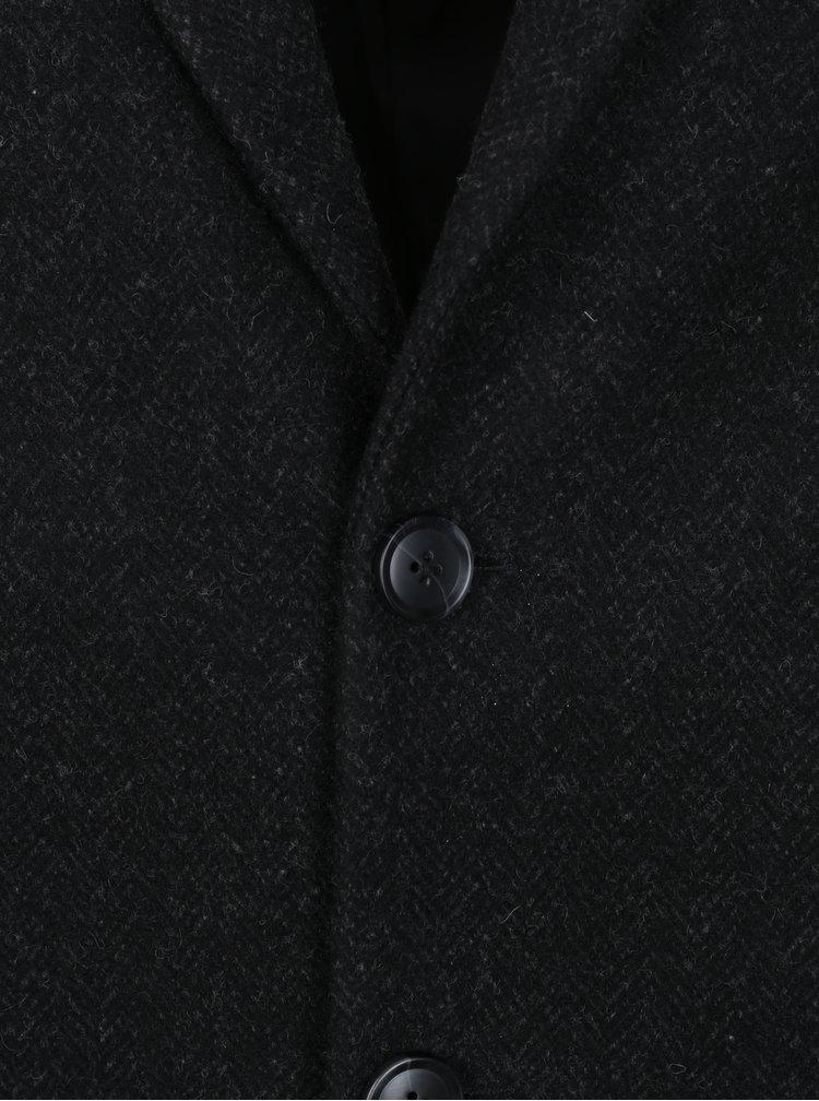 Černý pánský kabát s příměsí vlny Broadway Ovtave