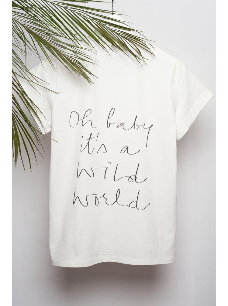 Tricou crem&negru cu print text Aer Wear Oh Baby