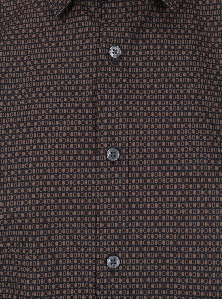 Camasa maro inchis cu print marunt slim fit Seidensticker