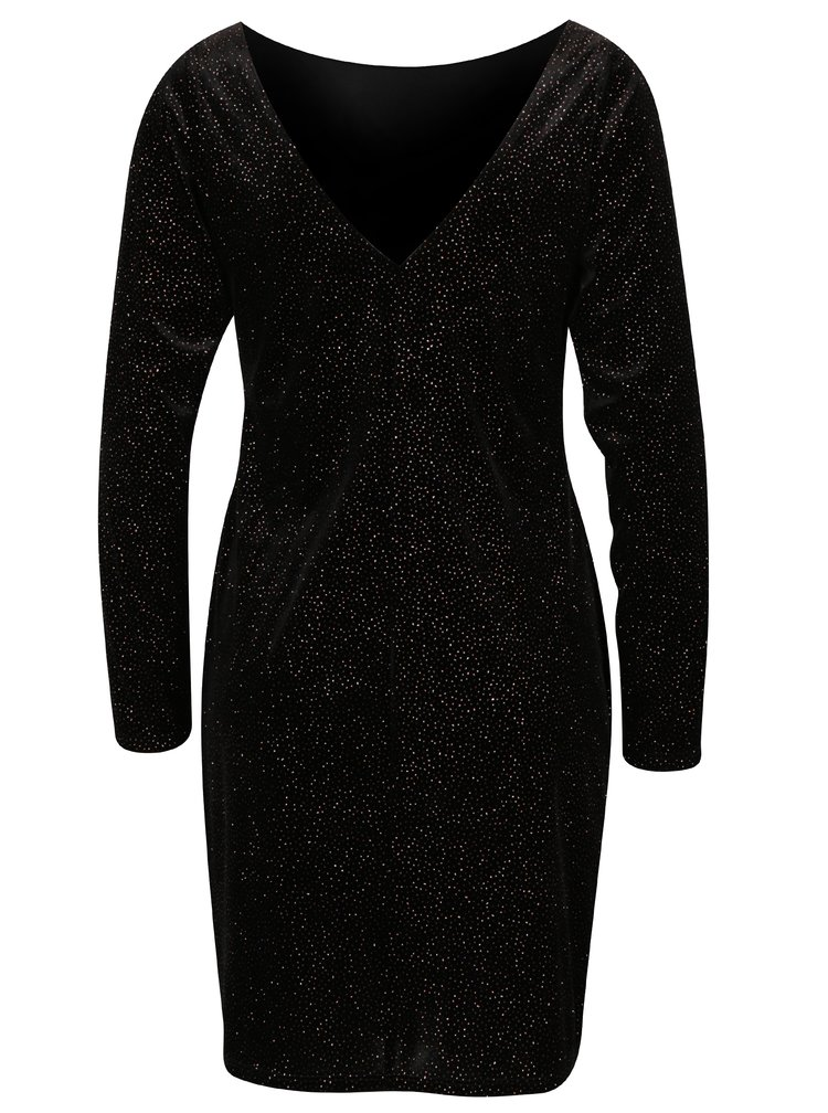 Černé třpytivé šaty s dlouhým rukávem Dorothy Perkins