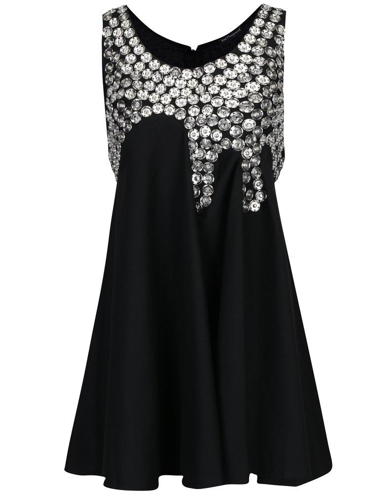 Černé vlněné šaty s kovovou aplikací Rad Playground