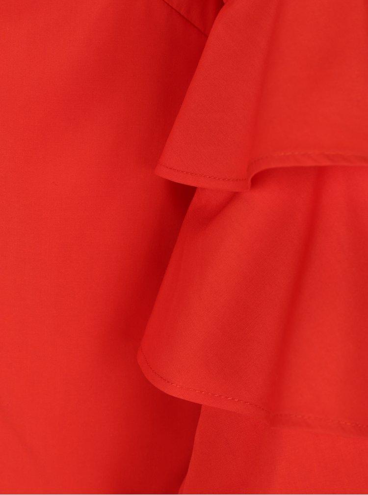 Červená halenka s volány na rukávu Dorothy Perkins