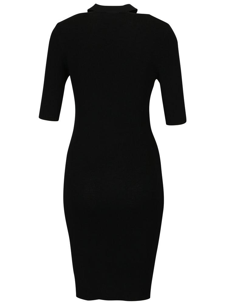 Černé pouzdrové svetrové šaty s chokerem Dorothy Perkins Petite