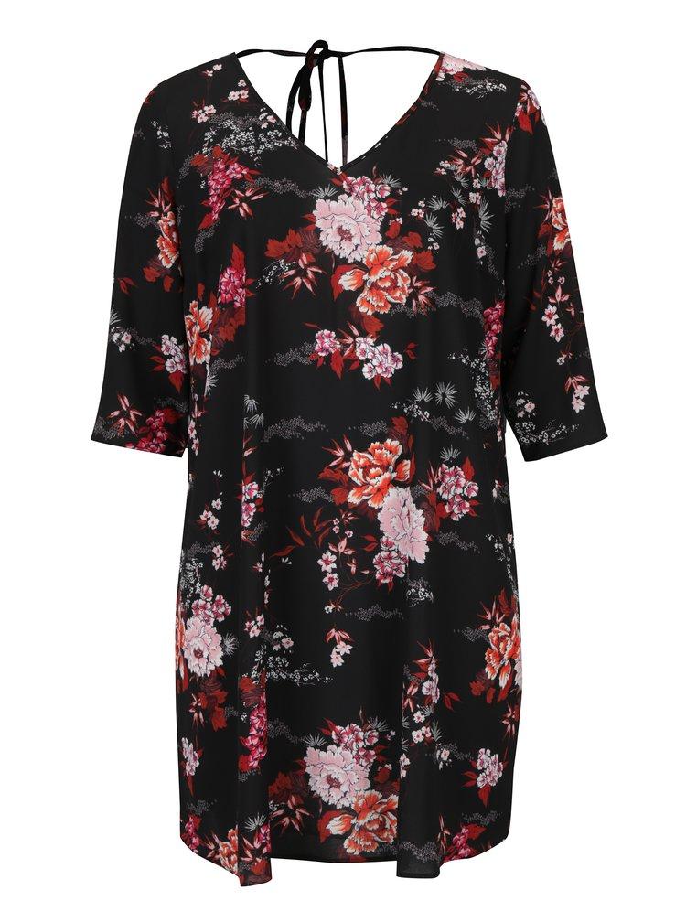 Černé květované šaty s véčkovým výstřihem Dorothy Perkins Curve