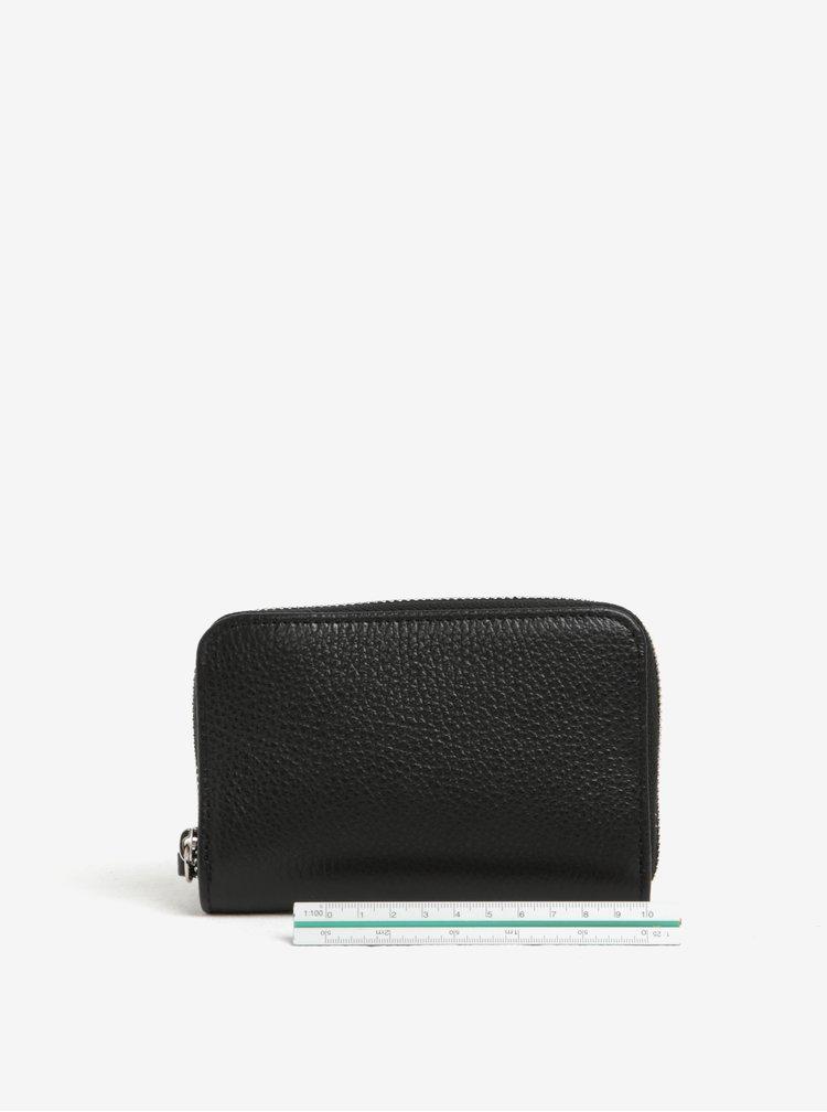 Černá kožená malá peněženka na zip ZOOT