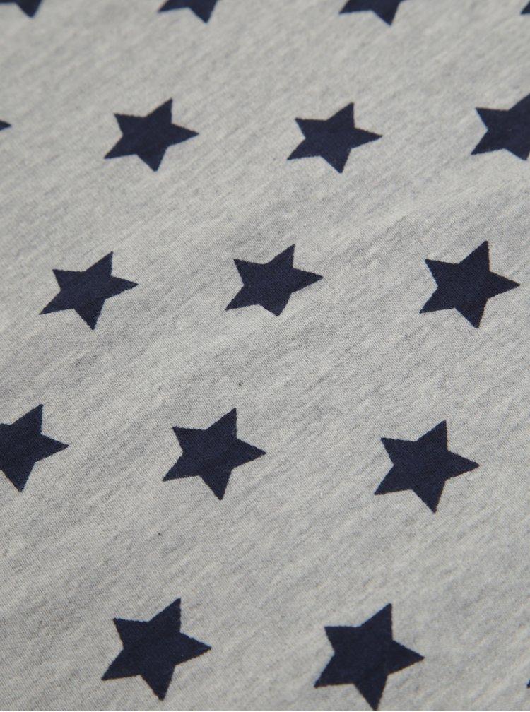 Šedá dětská dutá šála s potiskem hvězd 5.10.15.