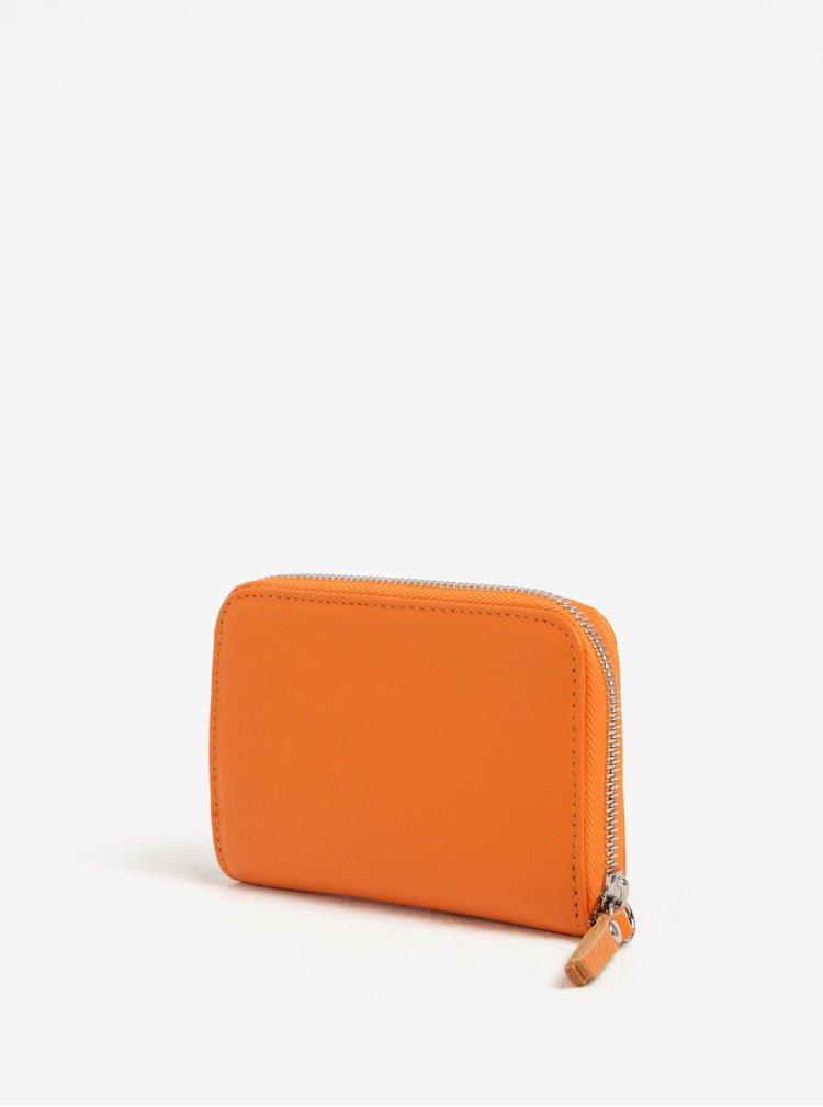 Oranžová kožená malá peněženka na zip ZOOT