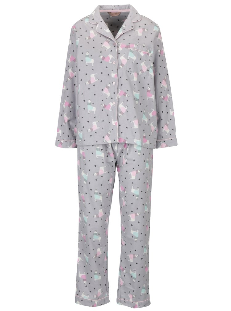 Pijama din bumbac cu maneci lungi si cu imprimeu catelusi -  Dorothy Perkins