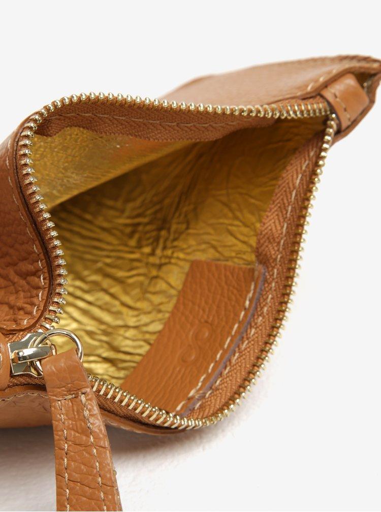 Geanta pentru cosmetice maro din piele naturala - ZOOT