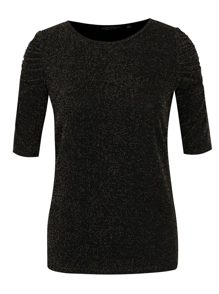 Černé tričko s odlesky ve zlaté barvě Dorothy Perkins