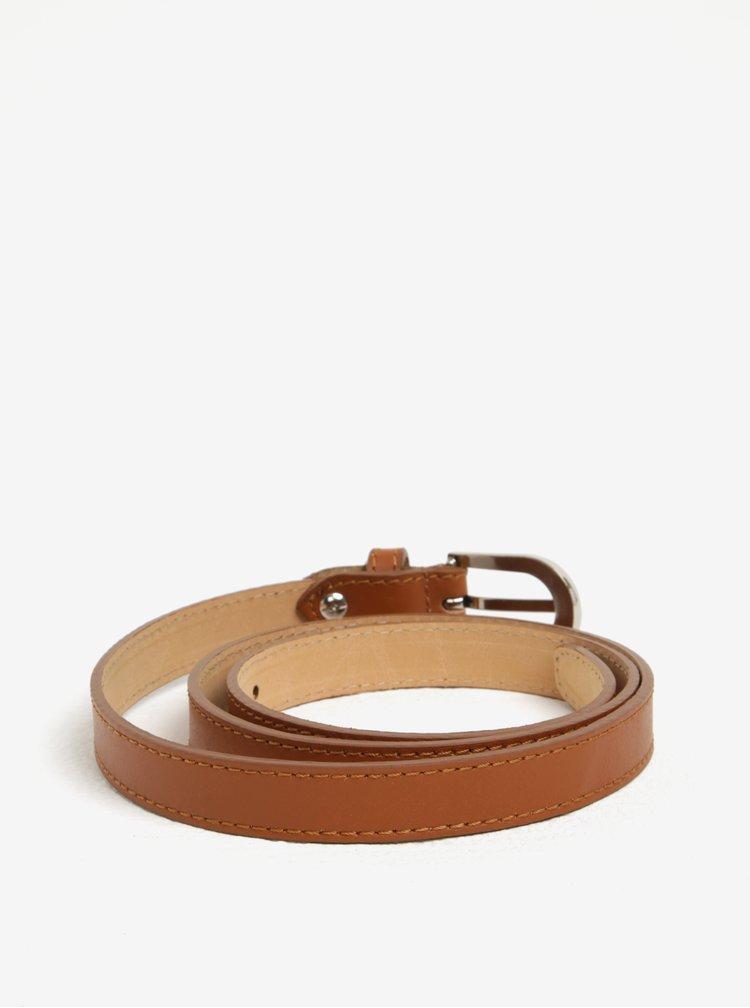 Hnědý kožený úzký pásek ZOOT