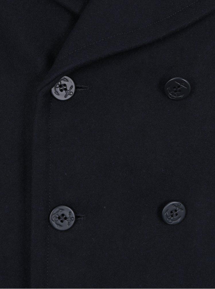 Tmavě modrý vlněný kabát Merc