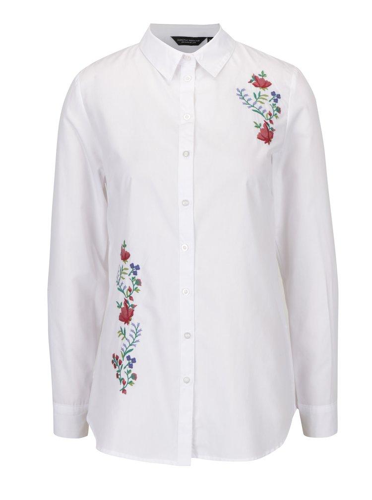 Bílá košile s výšivkami Dorothy Perkins