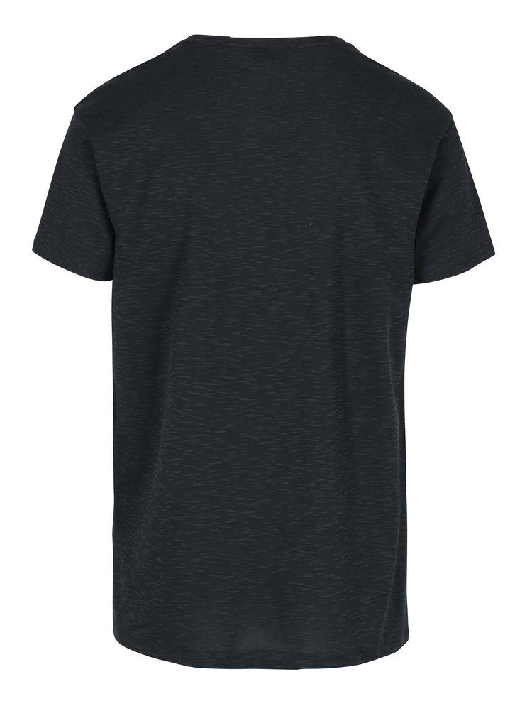 Tricou bleumarin cu print pentru barbati - Broadway Rice