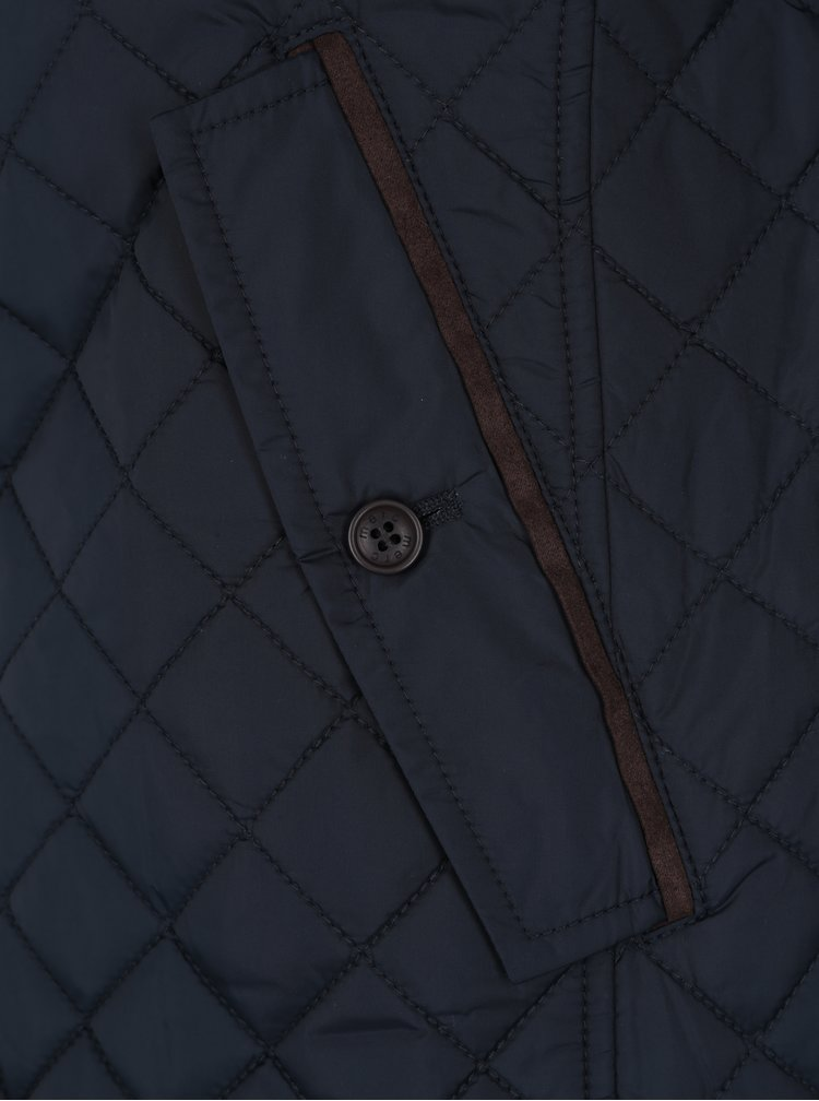 Tmavě modrá lehká prošívaná bunda Merc
