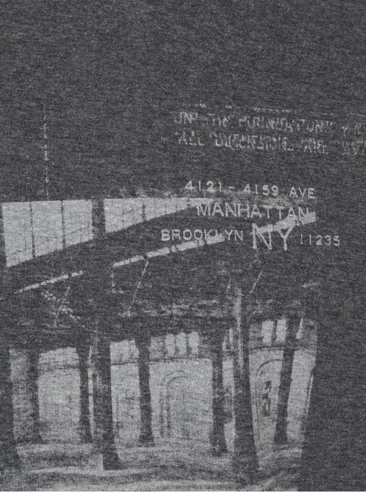 Šedé pánské tričko s dlouhým rukávem Broadway Savage