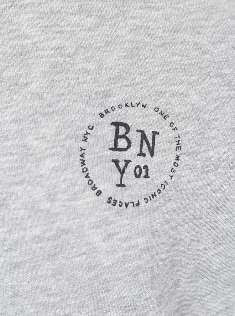 Světle šedé žíhané pánské tričko s krátkým rukávem Broadway Rance