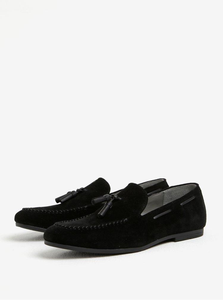 Čierne mokasíny v semišovej úprave Burton Menswear London
