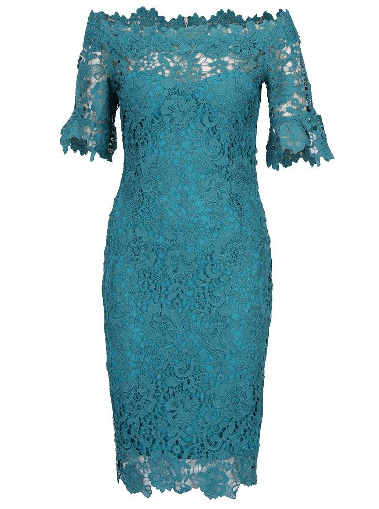 Tyrkysové krajkové šaty s odhalenými rameny Paper Dolls