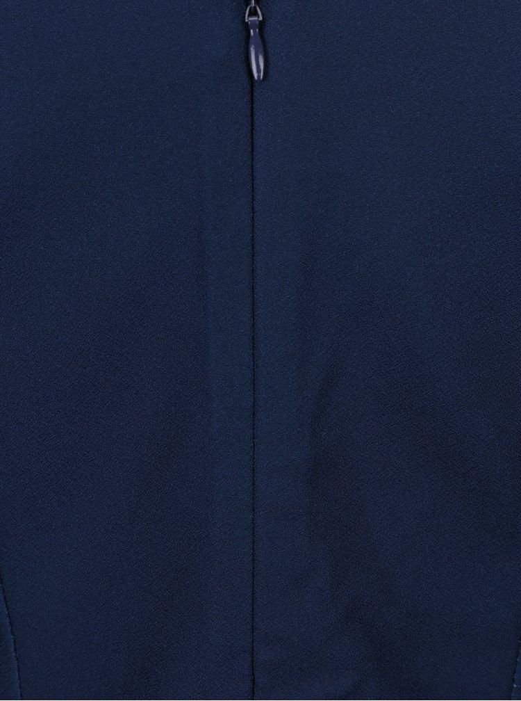 Tmavě modré květované šaty s véčkovým výstřihem Little Mistress