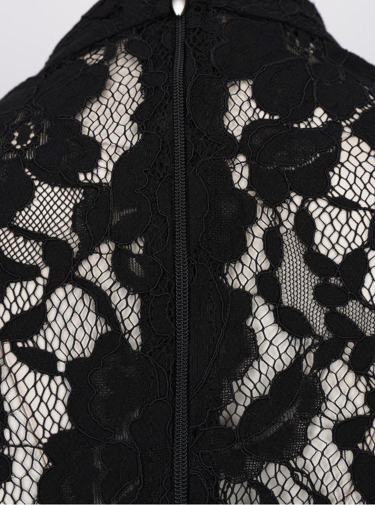 Černé krajkové šaty s 3/4 volánovými rukávy Paper Dolls