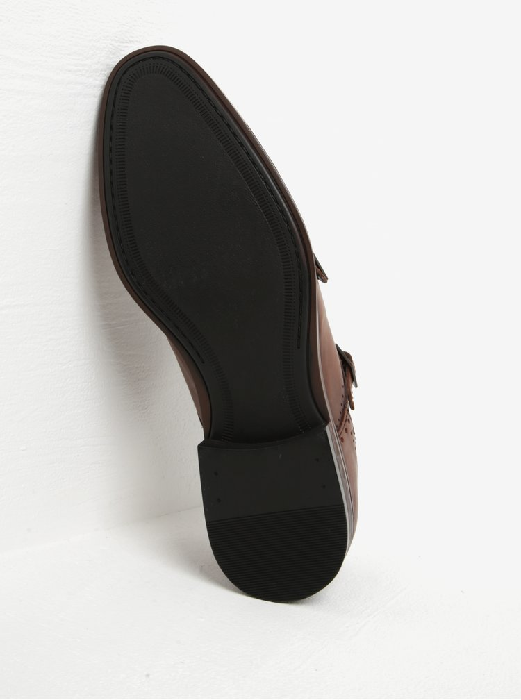 Pantofi maro din piele cu catarame Burton Menswear London