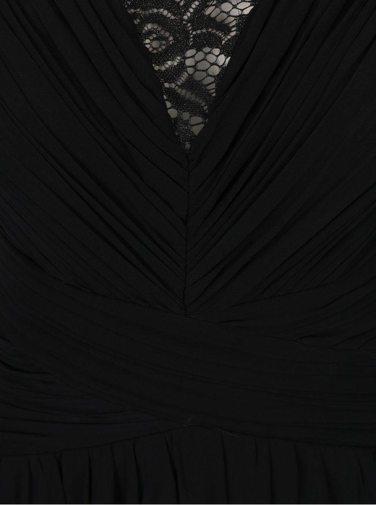 Černé maxišaty bez rukávů s krajkovým topem Little Mistress