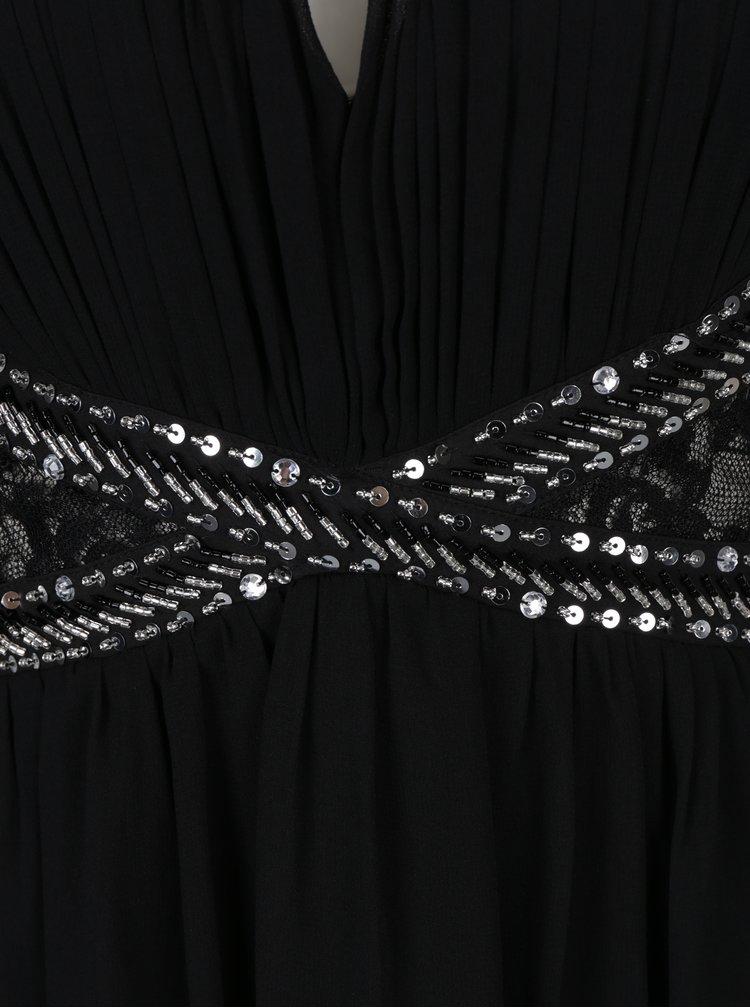 Černé maxišaty na ramínka s aplikací a průstřihem v dekoltu Little Mistress