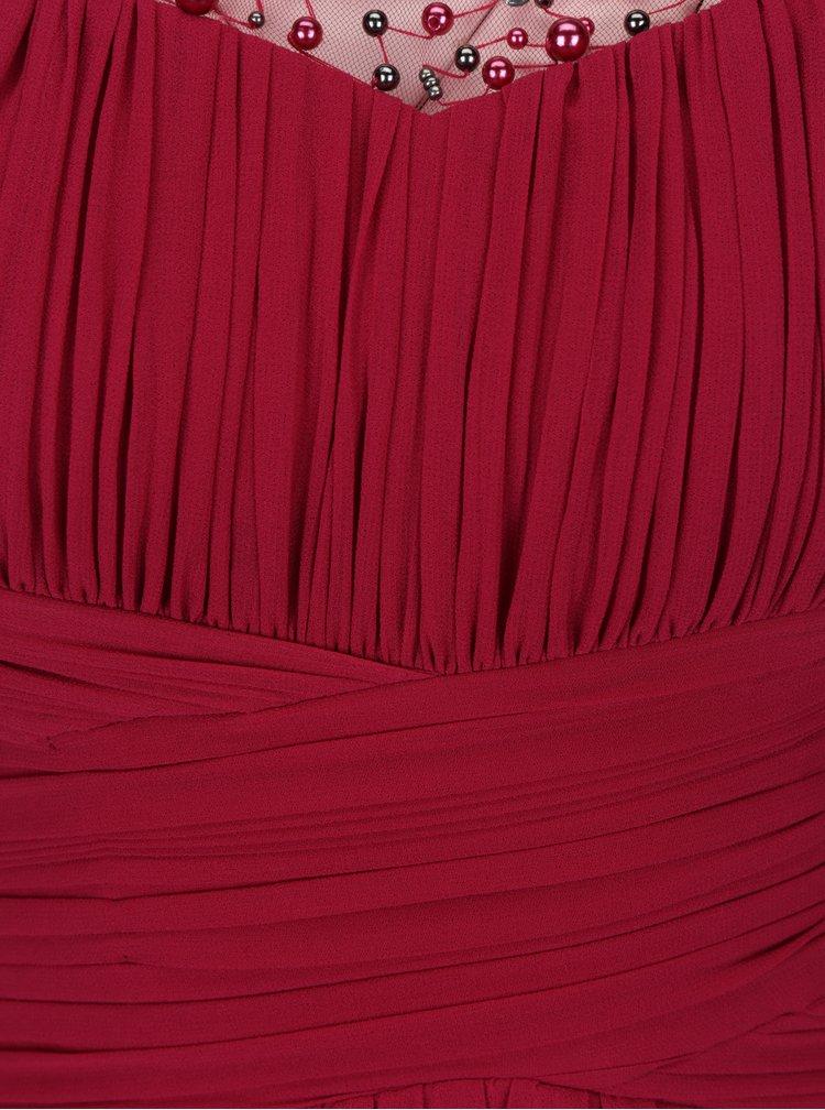 Tmavě růžové maxišaty s plisovaným topem a ozdobnou aplikací Little Mistress