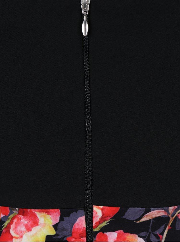 Černé šaty s květovanou sukní Paper Dolls
