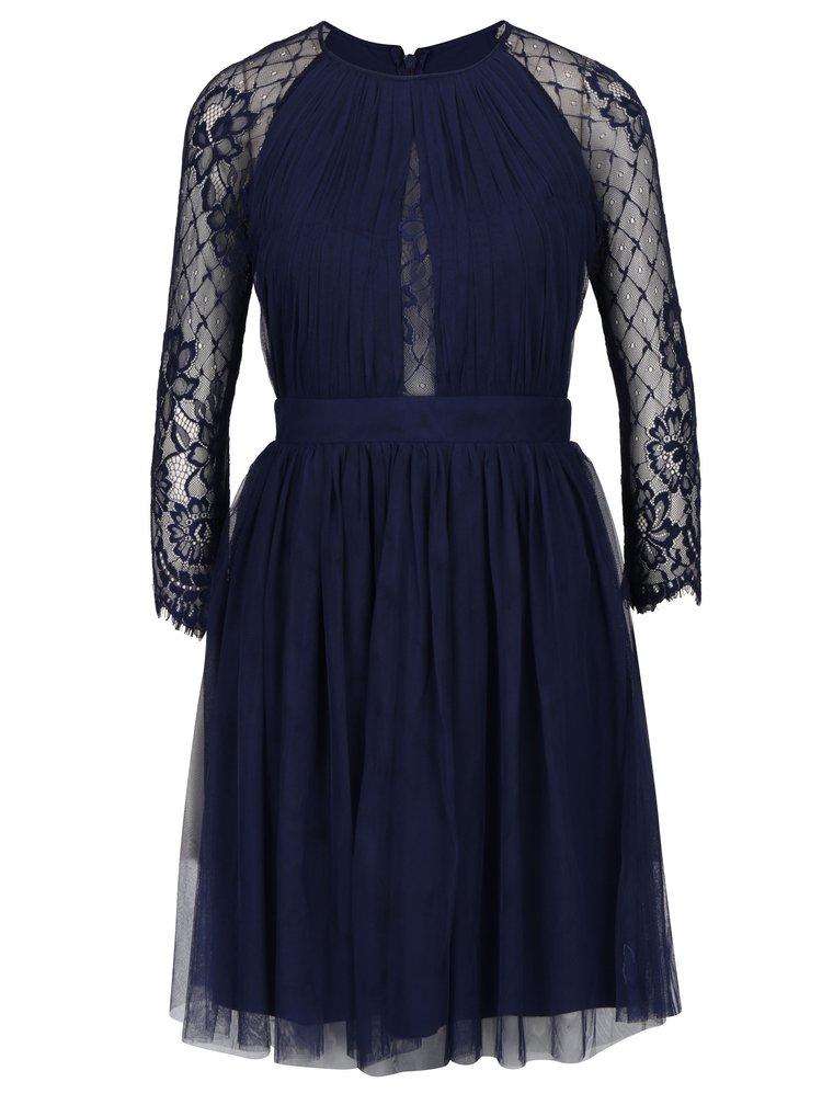 Tmavě modré tylové šaty s dlouhým krajkovým rukávem Little Mistress