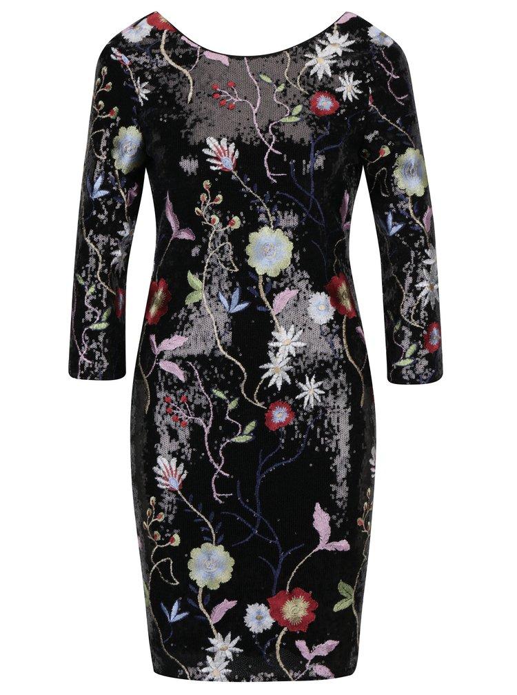 Černé flitrované šaty s květovanými výšivkami a 3/4 rukávem Little Mistress