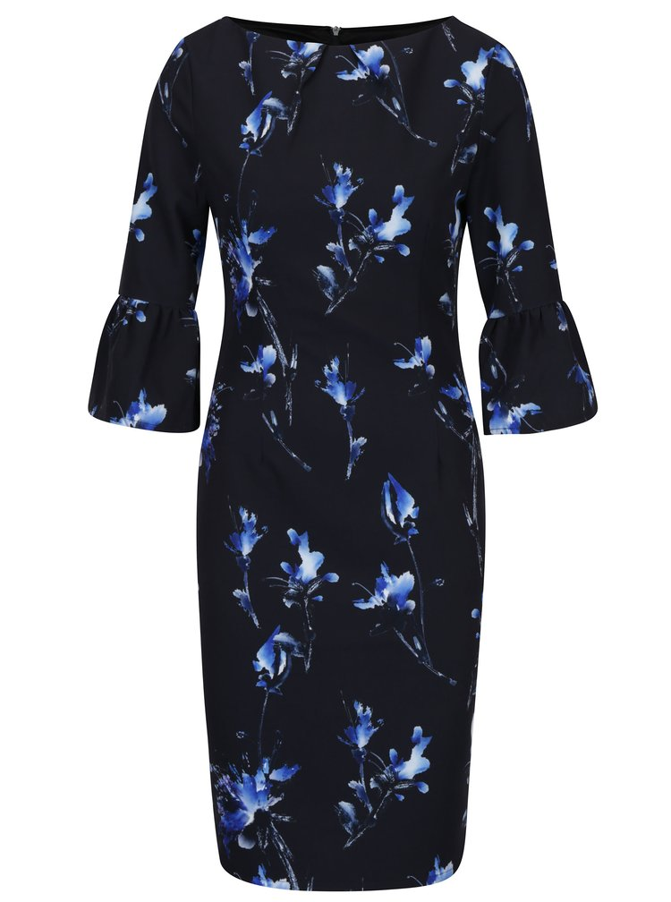 Modro-černé květované šaty s volány na rukávech Paper Dolls