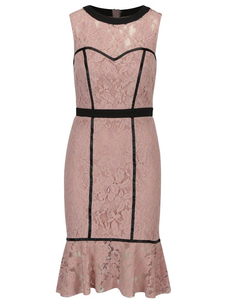 Starorůžové krajkové šaty s volánovým lemem Paper Dolls