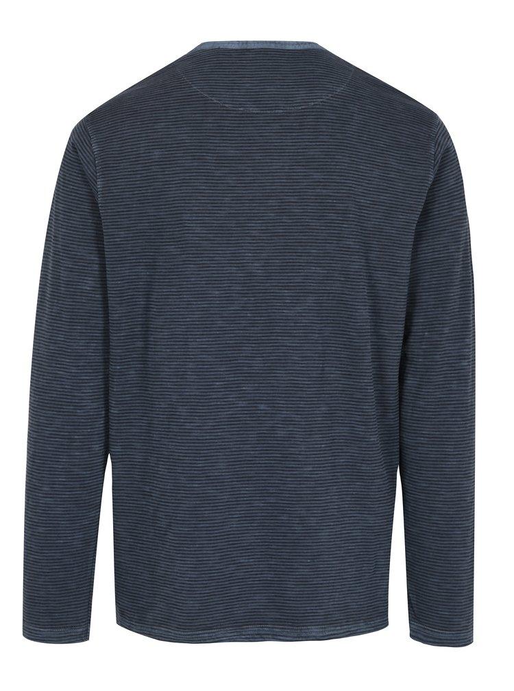 Bluza bleumarin cu print in dungi si slituri pentru barbati - Broadway Panur