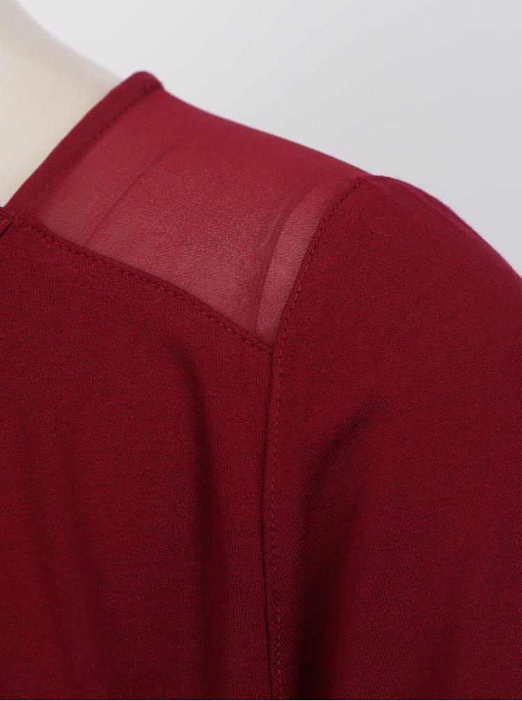 Bluza bordo suprapusa cu umeri translucizi -  Yest