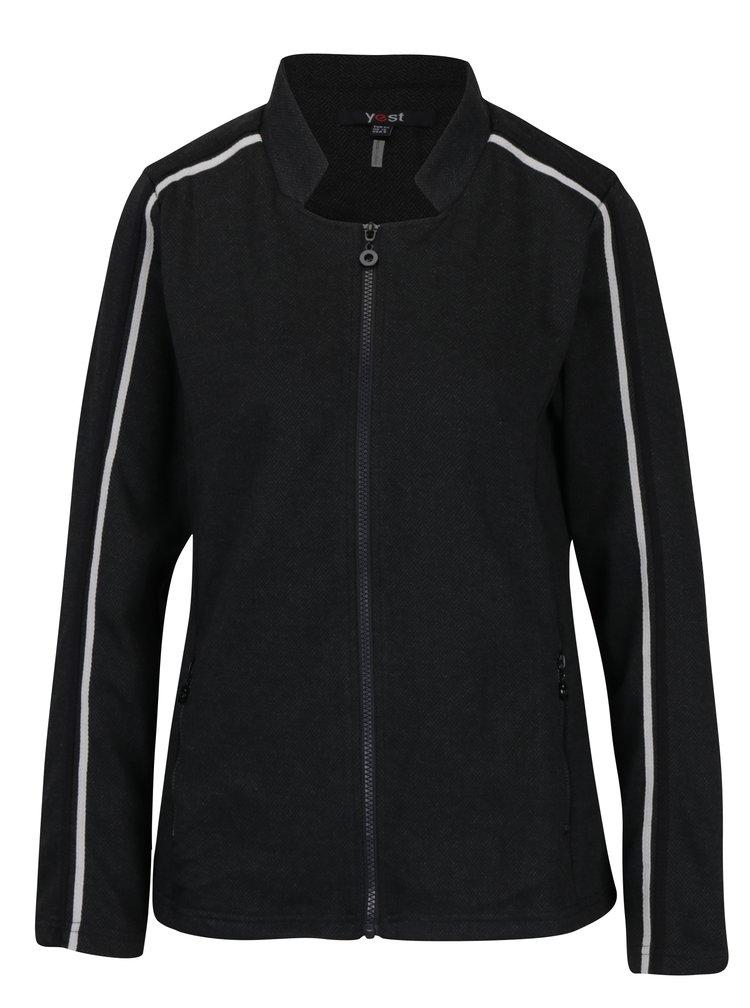 Tmavě šedé vzorované sako na zip Yest