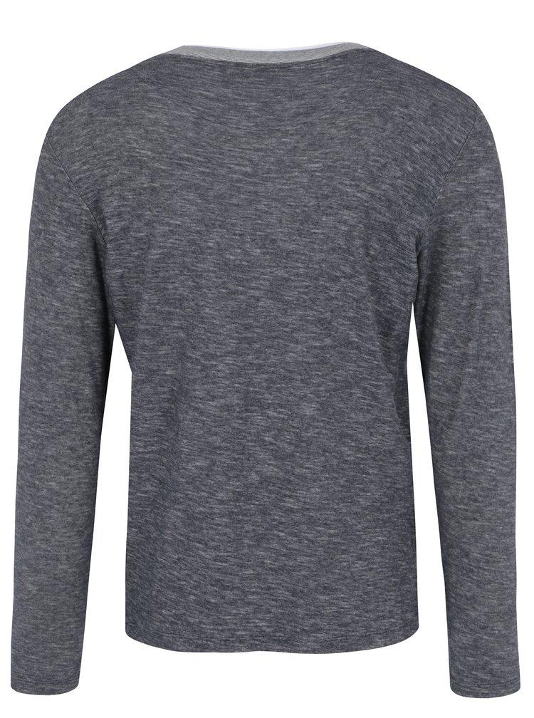 Tmavě modré žíhané tričko s dlouhým rukávem Jack & Jones Core Saint
