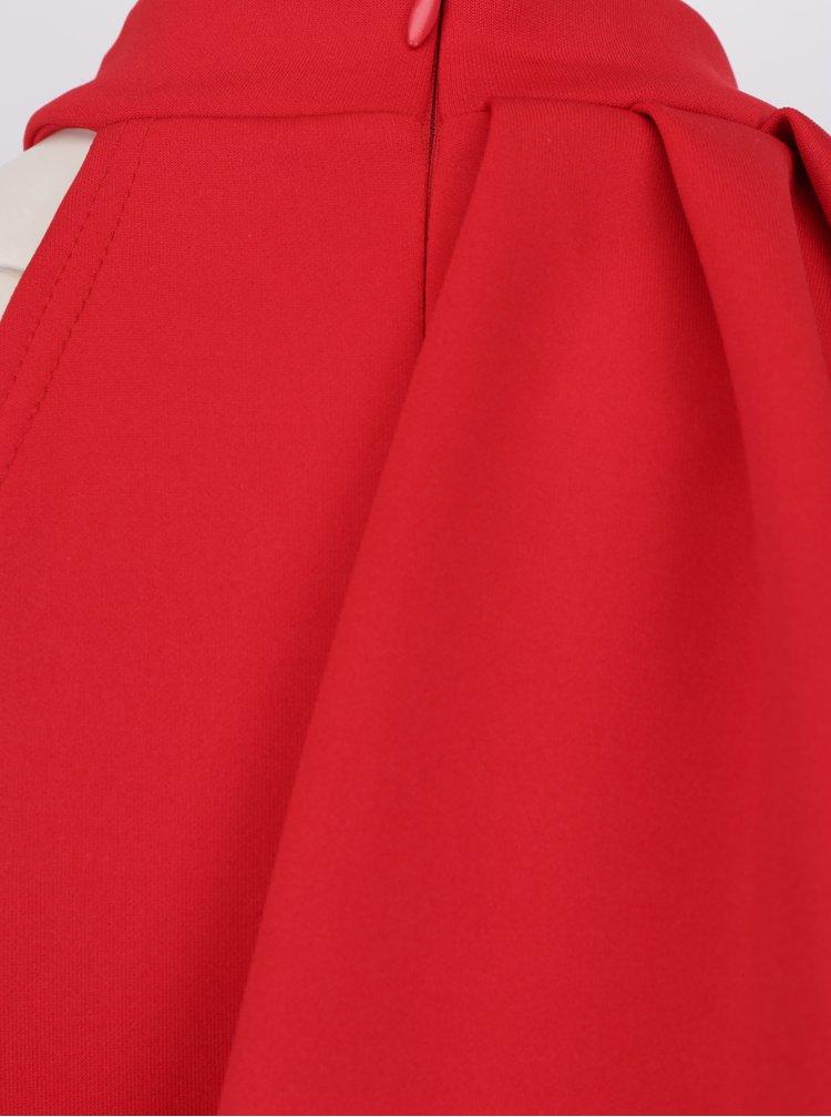 Červené pouzdrové šaty s volánem ZOOT